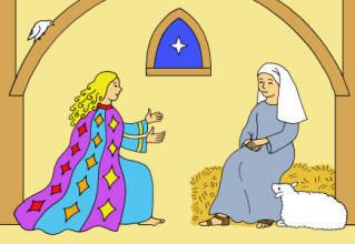 Christmas Story colouring card - annunciation
