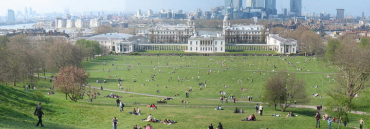 Greenwich Park - view from hill over Queen's House and River Thames
