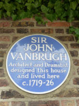 Blue plaque on wall outside Vanbrugh Castle, Blackheath