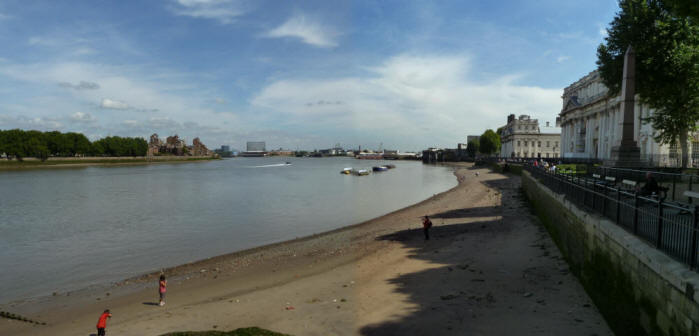 Greenwich - Thames foreshore by Old Royal Naval College, looking east