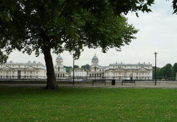View from Island Gardens over river to Old Royal Naval College