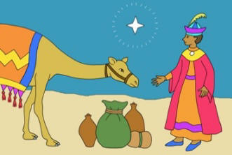 Christmas Story colouring card - wise man and camel